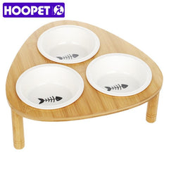 HOOPET Pet Dog Cat Bowl Bamboo Clappers Two Food and Water Porcelain Bowl