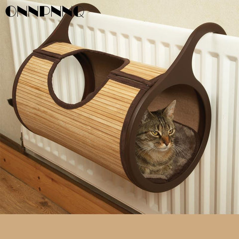 Natural Bamboo Radiator Cat Hanging Wall Tunnel Bed