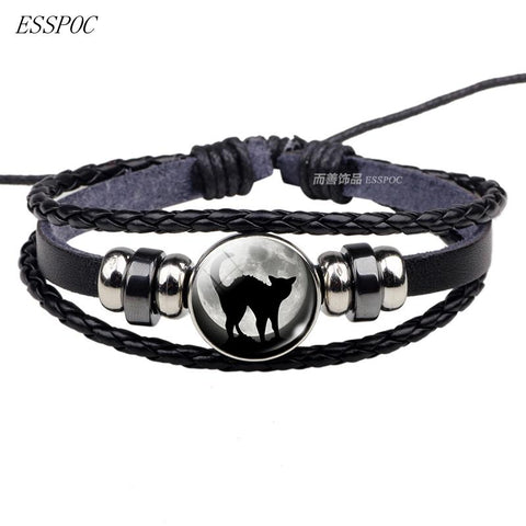 Black Cat Gothic Full Moon Rope Bracelet