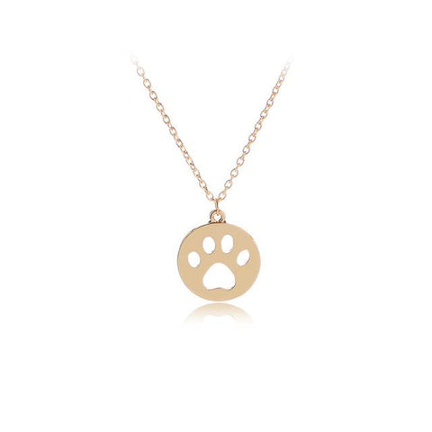 Hollow Pet Paw Prints Necklaces Dog Paw