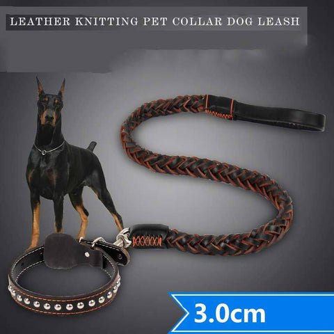Leather Tactical Dog Collar + Leash Strong Samoyed Long Leather