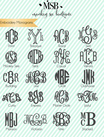 Monogram embroidery fonts