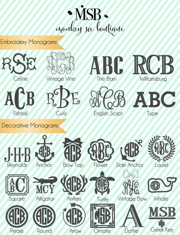 Monogram embroidery fonts and frames
