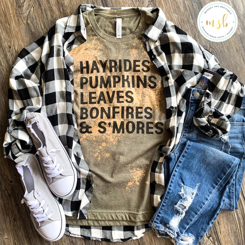 Bleached Fall Hayrides and Pumpkins Tee - monkey see boutique