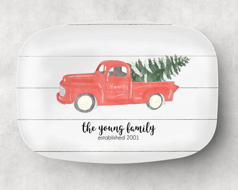 Vintage Christmas Truck Platter - monkey see boutique