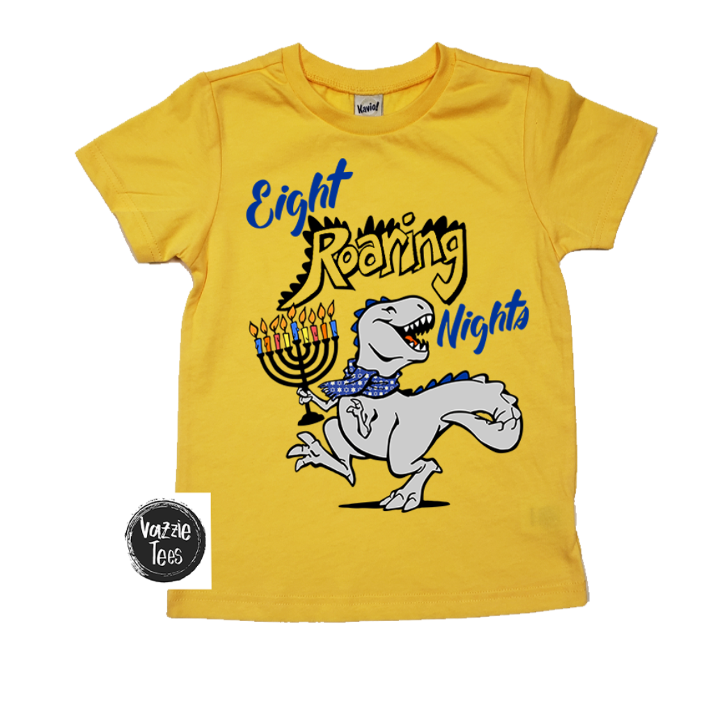 """Eight Roaring Nights"" Yellow Gold Tees for Kids & Adult, Vazzie Tees"