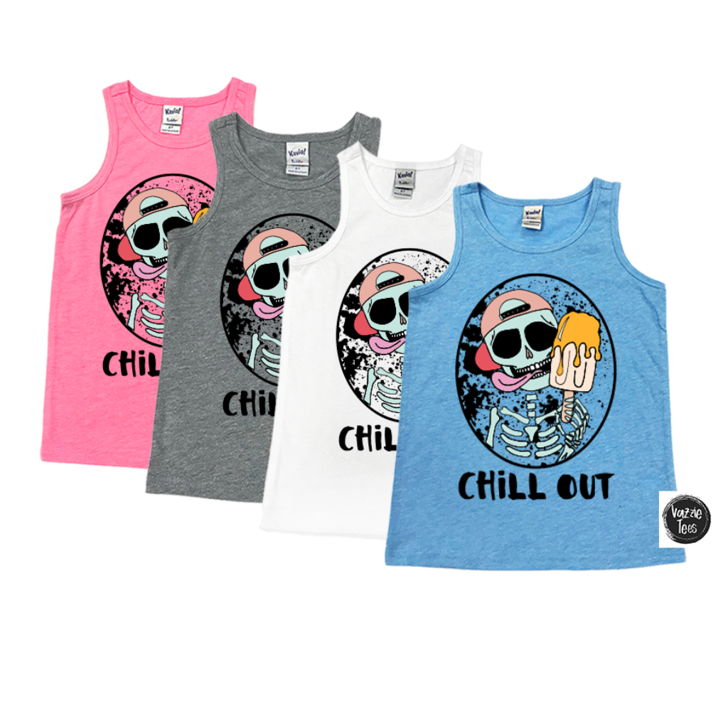 """Chill Out"" Tank Tops, Vazzie Tees"