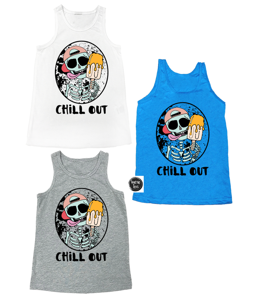 """Chill Out"" - Youth and Adult Unisex Tanks, Vazzie Tees"