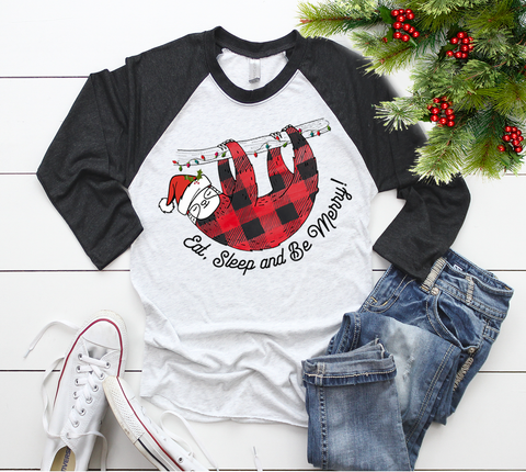 """Eat, Sleep, and Be Merry - Christmas Sloth Shirts"""