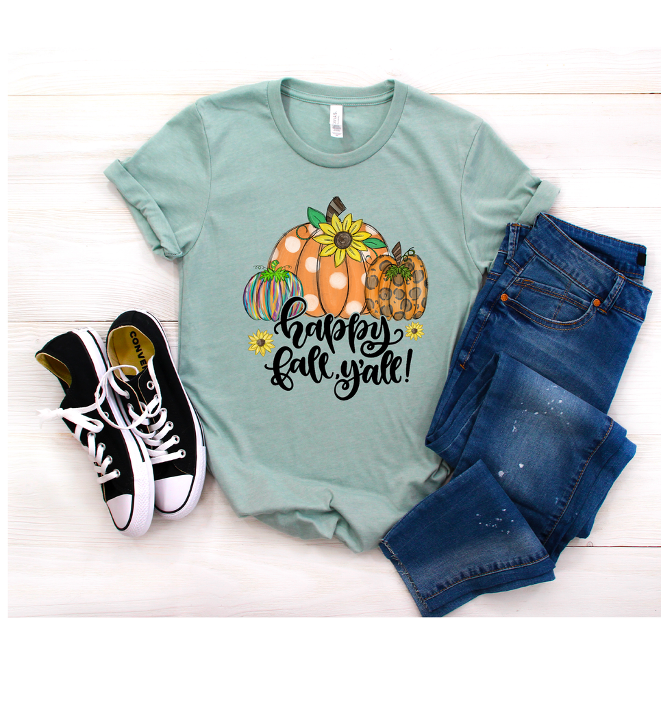 """Happy Fall Y'all"", Vazzie Tees"