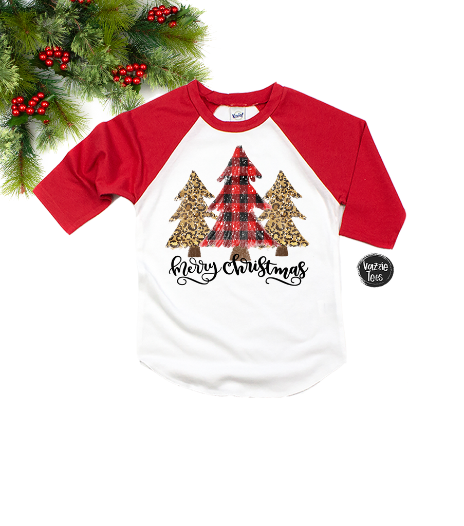 """Merry Christmas - Buffalo Plaid & Leopard Trees"", Vazzie Tees"