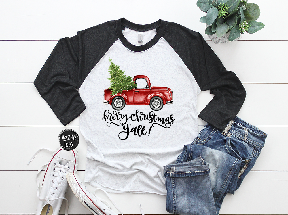 """Merry Christmas Y'all - Adult Tee"", Vazzie Tees"