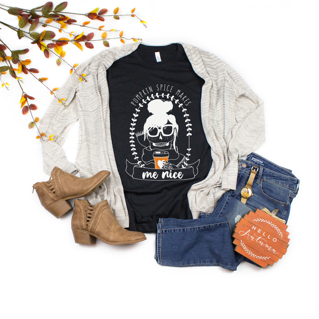 """Pumpkin Spice Makes Me Nice"" - Black Heather, Vazzie Tees"