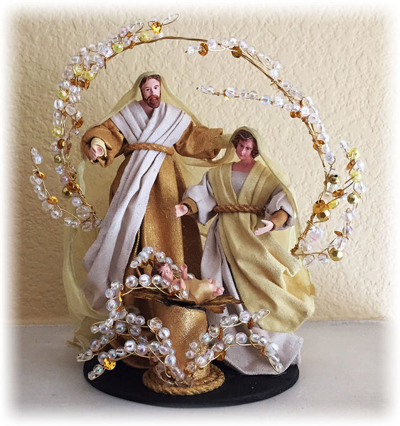 9 inch Holy Family on base Ivory and Gold