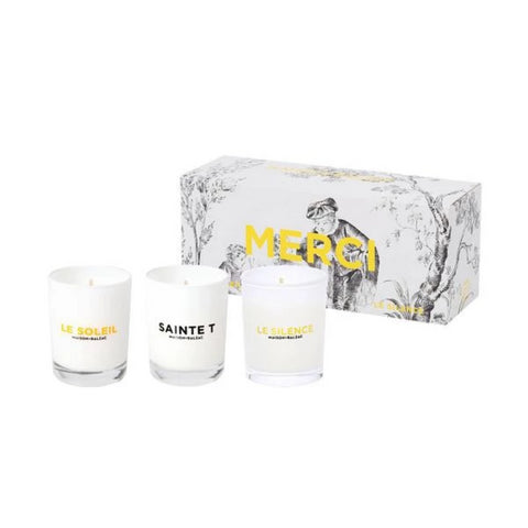 Set of 3 mini candles MERCI