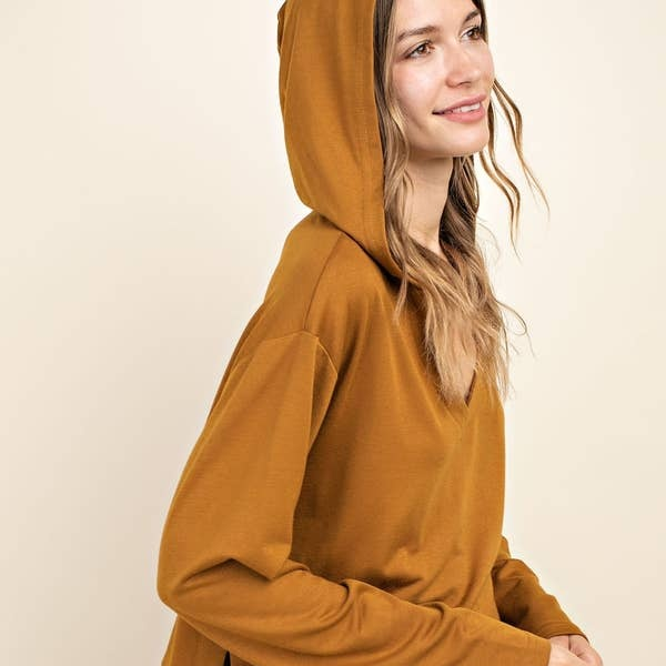 Mittoshop: Fabric Mixed V Neck Hoodie Top