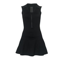 Load image into Gallery viewer, ladies golf apparel black women's golf dress with mesh inserts