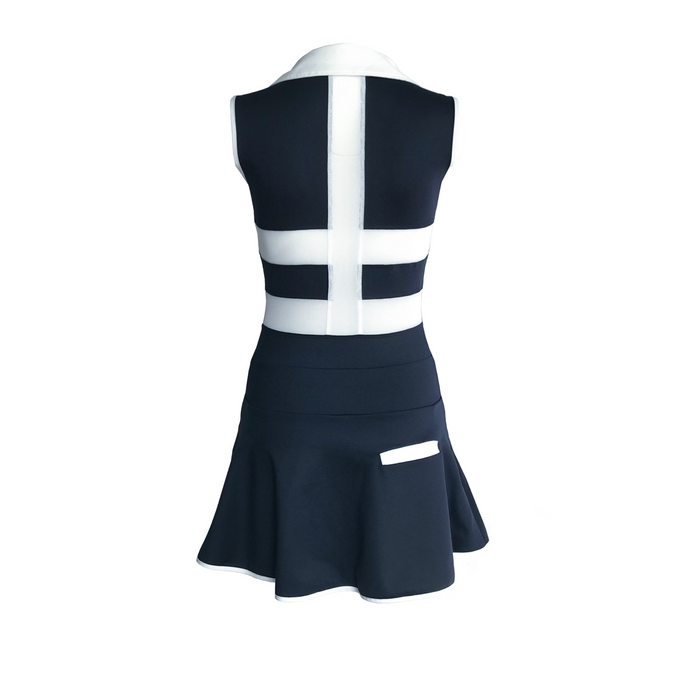 women's golf clothes navy white women's golf dress with mesh inserts