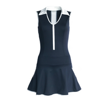 Load image into Gallery viewer, ladies golf apparel navy white women's golf dress with mesh inserts