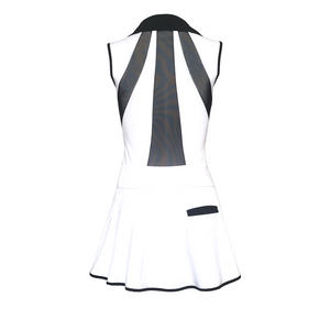 Pre Order - Splice Back Golf Dress - White