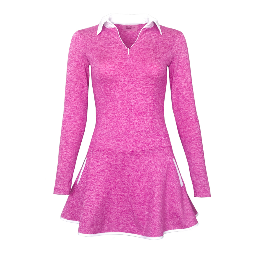 women's golf dress long sleeved fuchsia - women's golf apparel