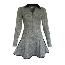 Load image into Gallery viewer, women's golf clothes grey black women's golf dress long sleeved