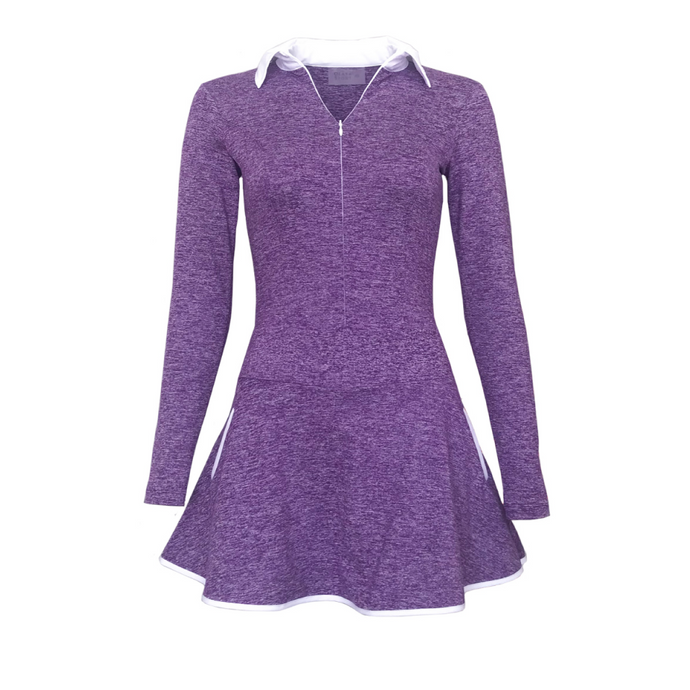 women's golf dress heather purple long sleeved - women's golf apparel
