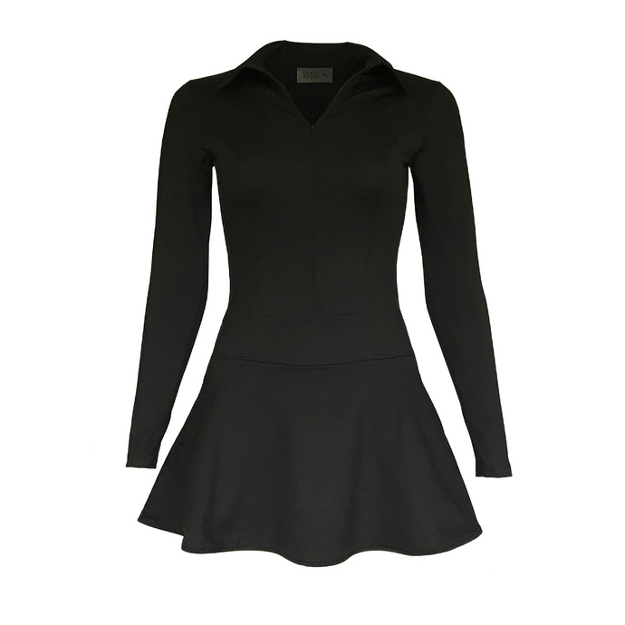 women's golf clothes black long sleeved women's golf dress