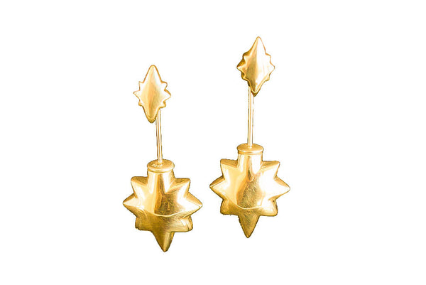 Shooting Star Earrings - Statement Size Gold