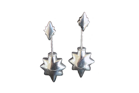 Shooting Star Earrings - Statement Size Silver