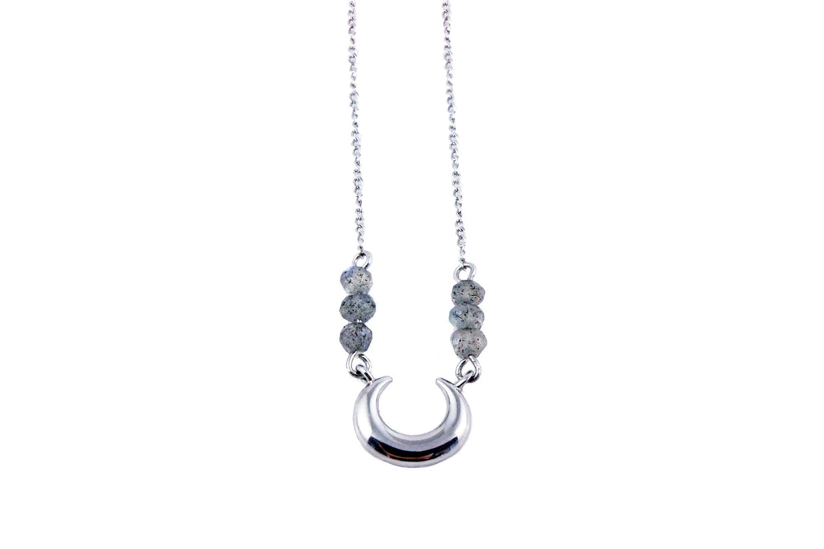 Lunar Lovers Labradorite Mini Moon Necklace Silver
