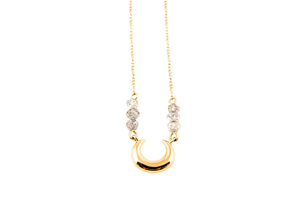 Lunar Lovers Labradorite Mini Moon Necklace Gold