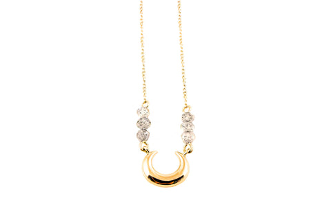 Lunar Lovers Labradorite Mini Moon Necklace 18k Gold Vermeil