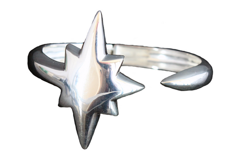 Shooting Star Bangle Silver