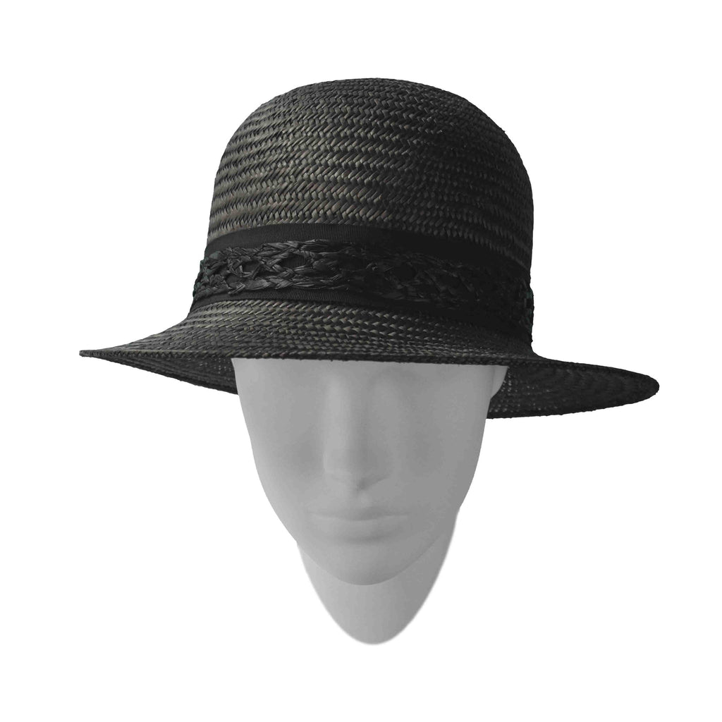 Hat designed by Rosie Boylan - Black Belle This tailored palm style is suited to petite features and is worn deep on the head.