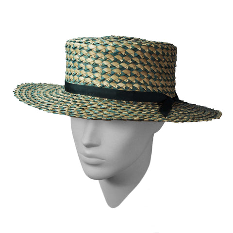 Turquoise twist boater hat