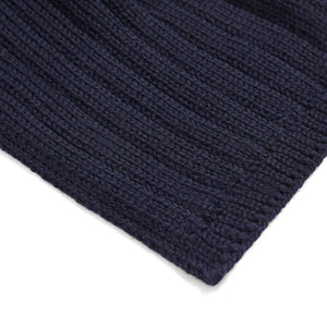 Unisex navy wide ribbed merino wool scarf