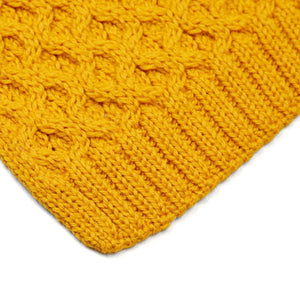 mustard honeycomb wool scarf close up