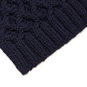 navy honeycomb wool scarf close up