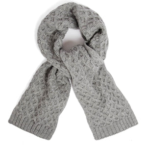 grey honeycomb wool scarf