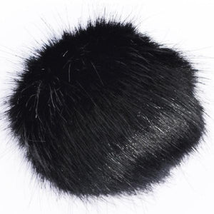 CYBER WEEK SPECIAL - Mini Faux Fur Bobbl - Black -  Pom Pom