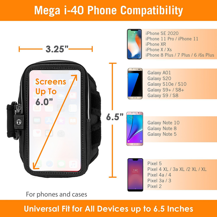 Armpocket Mega i-40 Running Phone Armband for iPhone SE 2020/11/11 Pro/XS/XR/X, Galaxy Note 10/S20/S10 & more with large cases