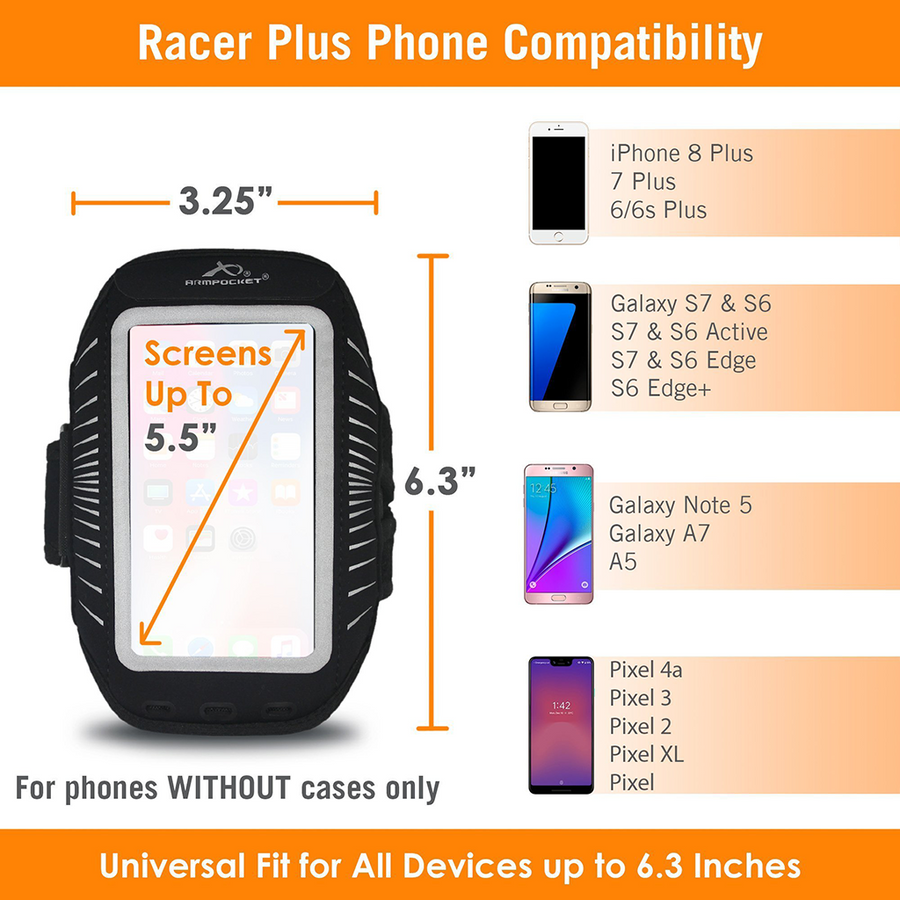 Armpocket Racer Plus Running Armband for iPhone 8/7/6 Plus, Galaxy S7/S6, Pixel 4a & more