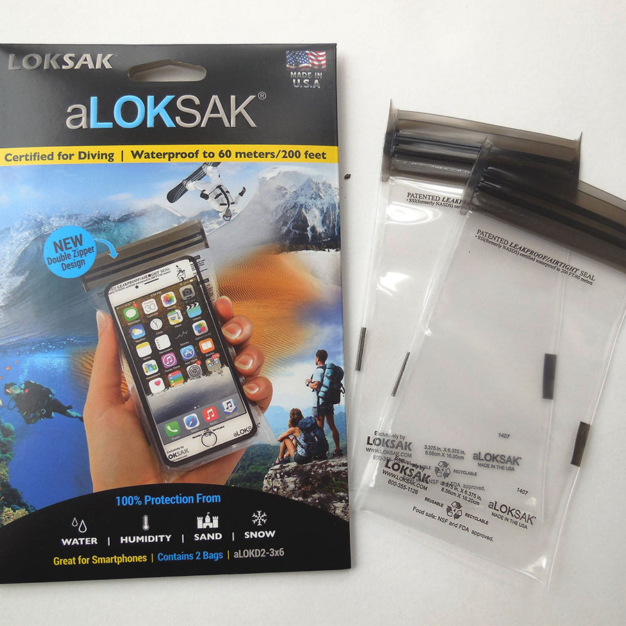 aLOKSAK Waterproof Storage Bag for Small Smartphones: 7.5cm x 14cm (2 Pack)