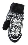 Rose Pattern Mittens Black/white