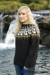 Icelandic sweaters and products - Dark puffin pullover Tailor Made - Shopicelandic.com