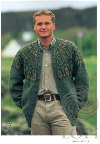 Icelandic sweaters and products - Augað (The eye) Mens Wool Cardigan Tailor Made - Shopicelandic.com