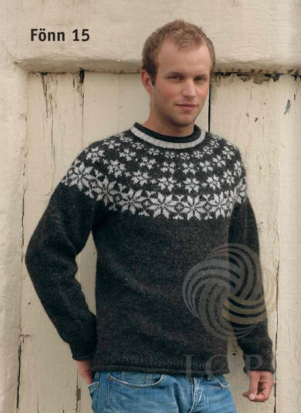 '- Icelandic Fönn Mens Wool Sweater Black - Tailor Made - Nordic Store Icelandic Wool Sweaters  - 1