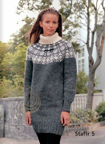 Icelandic sweaters and products - Stafir (Letters) Women Wool Sweater Grey Tailor Made - Shopicelandic.com
