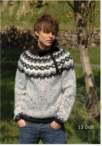 - Icelandic Órói (Disturbance) Mens Wool Sweater Grey - Tailor Made - Nordic Store Icelandic Wool Sweaters  - 1